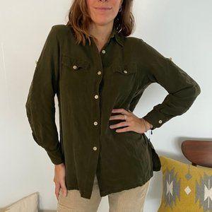 Ralph Lauren 100% Silk Button Down Green Shirt